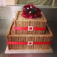 2 tier wedding cake, Black Forest in the middle with choc flakes surrounding both tiers