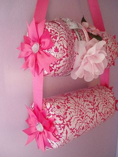 Custom Designed Double Hanging Fabric Headband Organizer Headband Holder. $28.99, via Etsy.