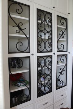 Decorative Faux Wrought Iron cabinet insert / covering design, enhances the look of any size or style cabinet. Great for kitchen, bathroom and office. Wine Cabinets, Cabinet Styles, Home Buying, Wrought Iron, China Cabinet, Home Interior Design, Storage, Kitchen, Room Ideas
