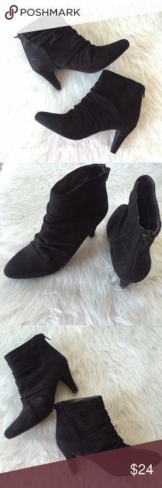 """Scrunched black ankle booties with zipper back Cute faux suede booties by Rialto. Very little wear, great condition!                                      This gorgeous pleated bootie speaks for itself. Designed with a sueded material, it is perfect for a comfortable yet edgy look when you are heading out for a fun night in the city.  HEEL HEIGHT: 3"""" Rialto Shoes Ankle Boots & Booties"""
