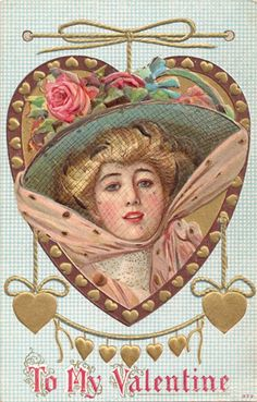 vintage valentine postcards   Vintage Valentine Beautiful Woman Postcards from the Early 1900s ...