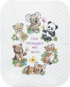 These adorable animal friends are ready to snuggle with your little one.The expressions on their faces are full of love and warmth.Makes a GREAT Shower Gift!Kit contains cotton thread, design printed