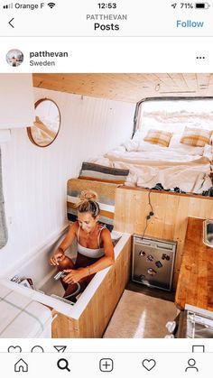 Camper Van Interiors That Could Replace A Tiny Home - House Topics Mini Camper, Camper Life, Bus Living, Tiny House Living, Motorhome, Kombi Trailer, Kombi Home, Van Home, Bus House