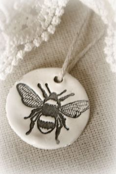 bumble bee clay stamped tag