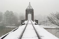 Train Tracks in snow crossing the Coosa River