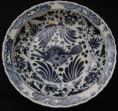 ANTIQUE CHINESE PORCELAIN FISH B&W HUGE CHARGER PLATE,19TH C., XUANDE MARK, NR.