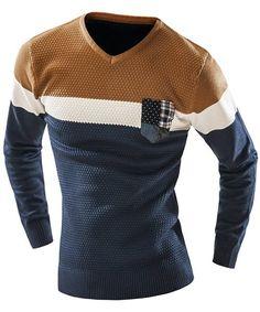 Colorblocked, patch pocket men's v-neck sweater.