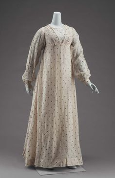 "ephemeral-elegance: "" Silver Embroidered Cotton Afternoon Dress, ca. 1800 """