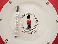 Jubilee Signature Plate featuring Queen's Guard image. Hand painted and personalised gift.
