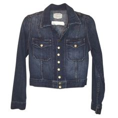 Pre-Owned current/elliott Denim Snap Womens Jean Jacket (8,400 INR) ❤ liked on Polyvore featuring outerwear, jackets, blue, denim jacket, blue denim jacket, jean jacket, long sleeve jean jacket and blue jean jacket