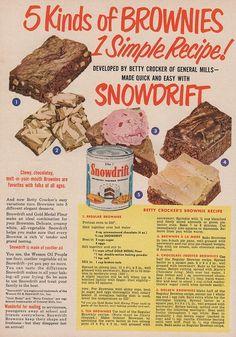 vintage brownie | Brownie recipe from Betty Crocker. Snowdrift shortening ad, Sunset ...