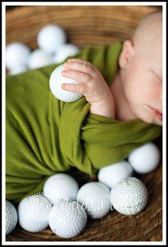 newborn golf photo shoot