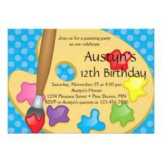 #Art Painting Birthday Invitations  Blue Version - #saturday #saturdays