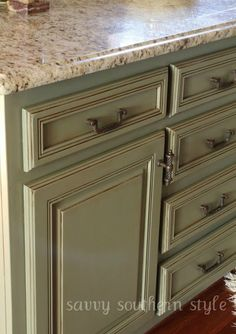 DIY: Kitchen Cabinets Tutorial - cabinets were given a facelift with ASCP, AS Lacquer glaze. This project cost $104 it turned out amazing!