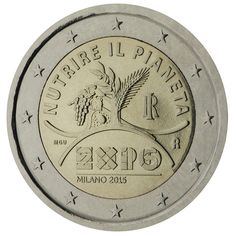 N♡T.2 euro: EXPO Milan 2015 Country: Italy Mintage year: 2015 Face value: 2 euro Diameter: 25.75 mm Weight: 8.50 g Alloy: Bimetal: CuNi, nordic gold Quality: Proof, BU, UNC