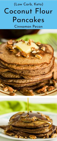 These keto cinnamon pecan coconut flour pancakes drenched in sugar free maple syrup create the ultimate low carb breakfast item. A combination that puts you in the essence of a keto pecan pie. Moist buttery pancake with a pecan crunch sure to fool the early morning taste testers of the household. Coconut flour pancakes are not only low carb and keto friendly but gluten free too. Now mom will be the envy of the neighborhood who makes such a delicious low carb breakfast staple!