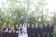 Purple, green, white and silver wedding at Carmel Mountain Ranch Country Club in San Diego, California. #bridal party #purple #suits #bridesmaidsdresses #bridal gown #flower girl