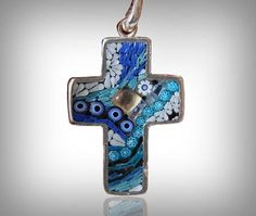 pendant necklace micromosaic crucifix latin cross blue silver