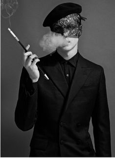 smoking the last taboo / pin - dog Dark Fashion, Mens Fashion, Fotografie Portraits, Monochrom, Headgear, Adele, Masquerade, Character Inspiration, Male Models