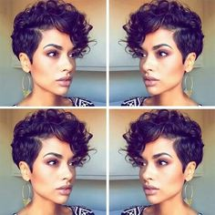 somenin s?ndan rapor al? Pixie Cut Curly Hair, Short Curly Pixie, Curly Pixie Hairstyles, Short Curly Haircuts, Short Hair Cuts, Curly Hair Styles, Cool Hairstyles, Natural Hair Styles, Short Curls