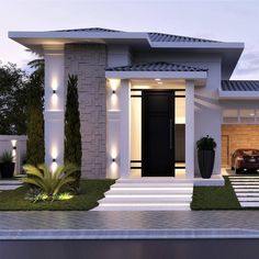This is a unique home design minimalis for your home. Modern Small House Design, Classic House Design, Minimalist House Design, Dream Home Design, Bungalow House Design, House Front Design, Morden House, Modern Architecture House, Rendering Architecture