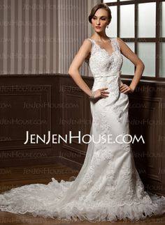 Wedding Dresses - $212.09 - Mermaid V-neck Chapel Train Satin Tulle Wedding Dress With Lace Beadwork (002011605) http://jenjenhouse.com/Mermaid-V-Neck-Chapel-Train-Satin-Tulle-Wedding-Dress-With-Lace-Beadwork-002011605-g11605