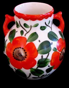 Czech Pottery Vases w/Floral Designs - Peasant Craft Style - Orange