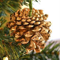 gilded pine cone ornament west elm knockoff, home decor, seasonal holiday decor Wine Cork Ornaments, Pinecone Ornaments, Diy Christmas Ornaments, Christmas Decorations, Christmas Ideas, Holiday Decorating, Christmas Stuff, Holiday Ideas, Pinecone Decor