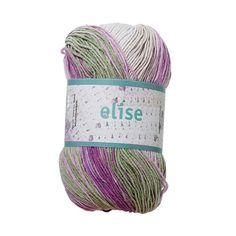 Pastellfärgad kärlek. Elise är ett underbart mjukt och härligt garn att arbeta med.Många sköna färger som är svåra att motstå – stora printnystan (100 g) och små enfärgade (50 g). Den lite matta ytan ger garnet en vacker retrokänsla. Genom att blanda bomullens fantastiska egenskaper med syntetfiber får du ett garn som är vackert och slitstarkt, samtidigt som det också är följsamt och elastiskt. Välj någon av våra bomullsblandningar när du vill ha mycket garn för pengarna.Nystan: Ca 50/10...