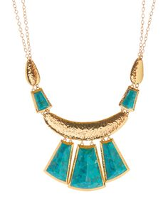 Turquoise & Bronze Tapered Statement Necklace