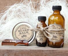 Beard Box: combs, scissors, beard balm, oil and wash. Makes a great gift for men, groomsmen, dads, and grads.