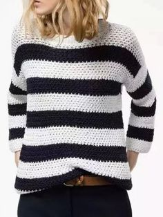 $29.69 Striped sweater in black and white.