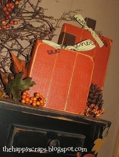 wood pumpkins for thanksgiving, fall and halloween Thanksgiving Crafts, Thanksgiving Decorations, Fall Crafts, Holiday Crafts, Holiday Fun, Crafts To Make, Halloween Decorations, Diy Crafts, Fall Decorations