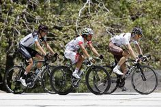 Team Spidertech rider David Boily (L) of Canada, Team Argos-Shimano rider Yukihiro Doi (C) of Japan and Team AG2R La Mondiale rider Sylvain Georges of France race in the break away during the sixth stage of the Tour of California near Crestline, California May 18, 2012.