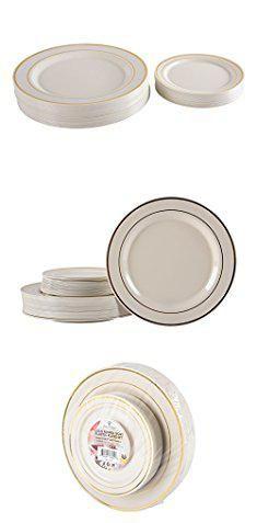 Gold Rimmed Plastic Plates. Premium Hard Plastic Gold Rimmed Ivory ...