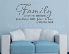 Family is a circle of strength Wall art wall decal wall quote vinyl lettering vinyl wall quote wall sticker wall sayings by VinylDecorBoutique on Etsy