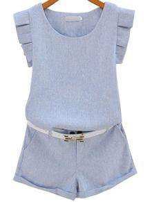 Blue Sleeveless Ruffle Top Flange Shorts US$31.33