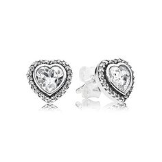 PANDORA | Heart silver stud earrings with cubic zirconia