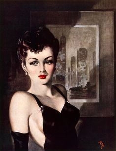 The Dark Lady of the Skyscrapersby ~ Pin-Up Print by David Wright