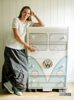 Hard to believe this is that same shabby old dresser from the garage sale, right? What a creative makeover!