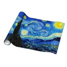 SOLD! - Starry Night Vincent Van Gogh painting art Gift Wrap Paper #starry #night #vangogh #gogh #painting #wrapping #paper #christmas #gift #postimpressionism
