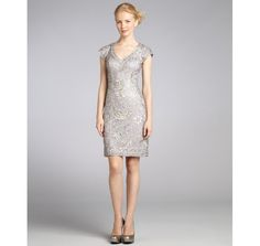 Sue Wong platinum lace and sequin cap sleeve party dress, $315