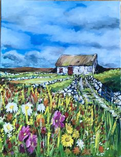 This is a painting of an old cottage in the west of Ireland. This cottage is set behind a wild garden. The wild garden is colourful and plentiful. Old Cottage, Irish Art, Garden, Painting, Color, Garten, Colour, Gardening, Painting Art