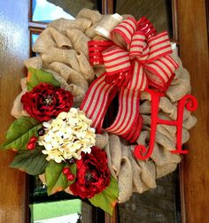 Valentine's day Door wreath Winter Wreath Burlap by WreathChick