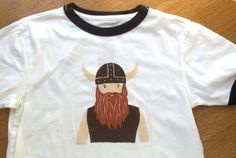 Hand-printed children's T-shirt VIKING cotton by BottleBranch . on etsy Vikings, Crafts For Kids, Printed, Children, Tees, Cotton, T Shirt, Fashion, Crafts For Toddlers
