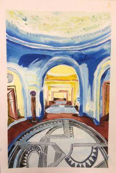 Karoliina Hellberg: Sininen aula, ink and watercolour on paper, cm Finland Finland, Painting & Drawing, Artsy, Ink, Watercolor, Drawings, Image, Paper, Kunst