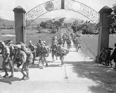 Japanese army, navy and marine personnel prepare to march to a prisoner of war camp in Hong Kong. History Of Hong Kong, British Hong Kong, Canadian Soldiers, Imperial Army, Prisoners Of War, Historical Pictures, Military Art, The Good Old Days, Vintage Photographs