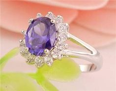 925 Sterling Silver Purple Gemstone Ring with Accents  - Size 8