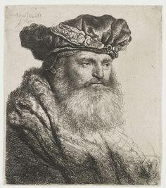 Gebaarde man met een fluwelen baret waarop een juwelen gesp, Rembrandt Harmensz. van Rijn, 1637