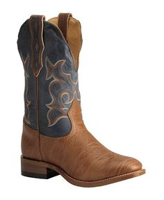 cowboy boots in brown and blue